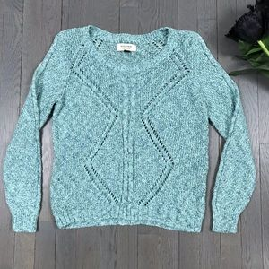 sonoma Life + Style Teal Knit Cable Knit Sweater